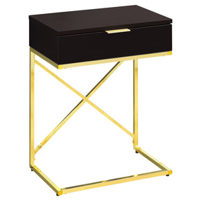 "Monarch Specialties I 3476 Accent Table - 24""H / Cappuccino / Gold Metal  680796013875"