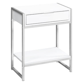 "Monarch Specialties I 3480 Accent Table - 24""H / Glossy White / Chrome Metal  680796013493"