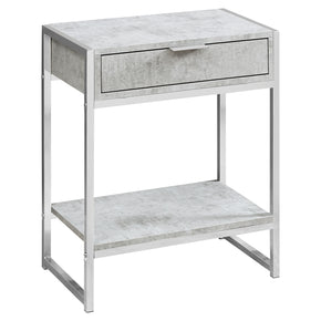 "Monarch Specialties I 3481 Accent Table - 24""H / Grey Cement / Chrome Metal  680796013509"