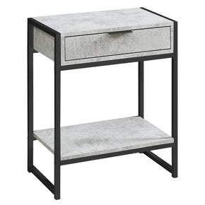 "Monarch Specialties I 3482 Accent Table - 24""H / Grey Cement / Black Nickel Metal  680796013516"