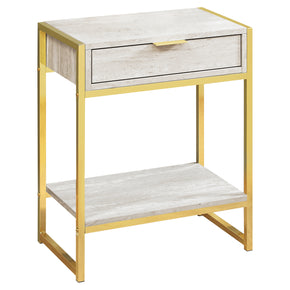 "Monarch Specialties I 3483 Accent Table - 24""H / Beige Marble / Gold Metal  680796013523"