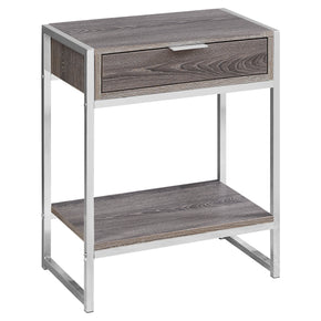"Monarch Specialties I 3485 Accent Table - 24""H / Dark Taupe / Chrome Metal  680796013547"