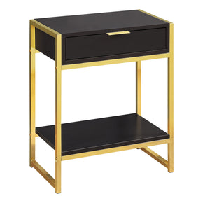 "Monarch Specialties I 3486 Accent Table - 24""H / Cappuccino / Gold Metal  680796013554"