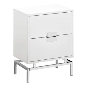 "Monarch Specialties I 3490 Accent Table - 24""H / Glossy White / Chrome Metal 680796013561"