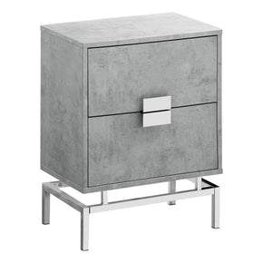 "Monarch Specialties I 3491 Accent Table - 24""H / Grey Cement / Chrome Metal 680796013578"