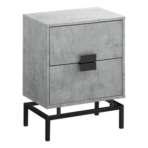 "Monarch Specialties I 3492 Accent Table - 24""H / Grey Cement / Black Nickel Metal 680796013585"