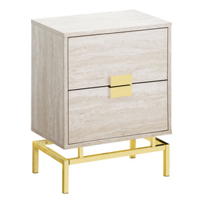 "Monarch Specialties I 3493 Accent Table - 24""H / Beige Marble / Gold Metal 680796013592"