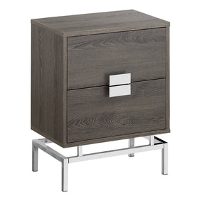 "Monarch Specialties I 3495 Accent Table - 24""H / Dark Taupe / Chrome Metal 680796013615"