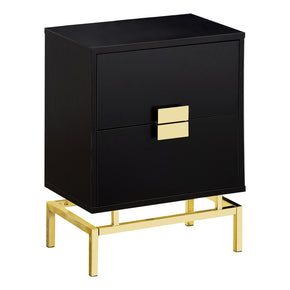 "Monarch Specialties I 3496 Accent Table - 24""H / Cappuccino / Gold Metal 680796013622"
