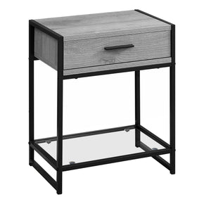 "Monarch Specialties I 3500 Accent Table - 22""H / Grey / Black Metal / Tempered Glass 680796014971"