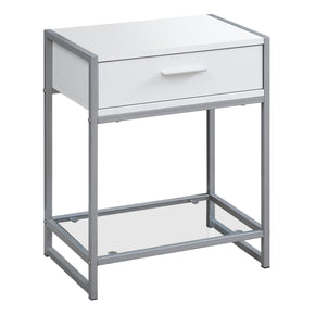 "Monarch Specialties I 3503 Accent Table - 22""H / White/ Silver Metal/ Tempered Glass 680796015008"