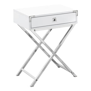 "Monarch Specialties I 3550 Accent Table - 24""H / Glossy White / Chrome Metal 680796015152"