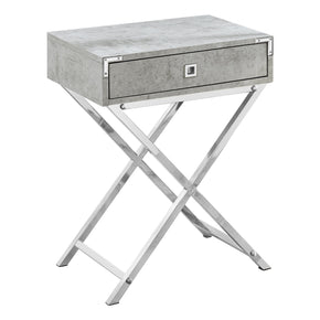 "Monarch Specialties I 3551 Accent Table - 24""H / Grey Cement / Chrome Metal 680796015169"