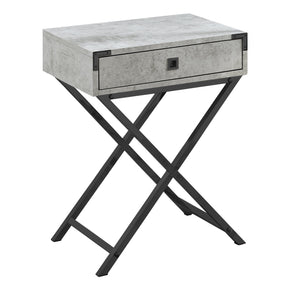 "Monarch Specialties I 3552 Accent Table - 24""H / Grey Cement / Black Nickel Metal 680796015176"