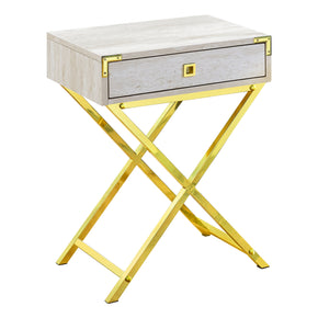 "Monarch Specialties I 3553 Accent Table - 24""H / Beige Marble / Gold Metal 680796015183"