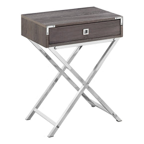 "Monarch Specialties I 3555 Accent Table - 24""H / Dark Taupe / Chrome Metal 680796015206"