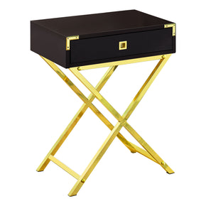 "Monarch Specialties I 3556 Accent Table - 24""H / Cappuccino / Gold Metal 680796015213"
