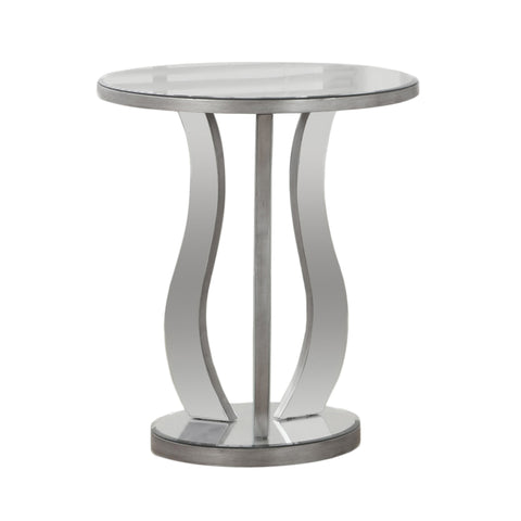 "Monarch Specialties I 3726 End Table - 20""Dia / Brushed Silver / Mirror 878218007513"