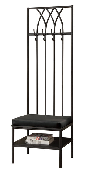 "Monarch Specialties I 4540 Bench - 72""H / Black Hammered Metal Hall Entry  021032288273"