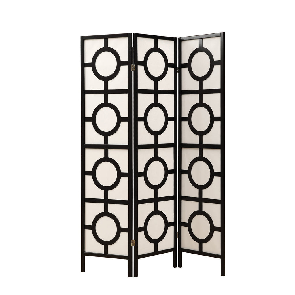 "Monarch Specialties I 4619 Folding Screen - 3 Panel / Black Frame"" Circle Design ""  021032258436"