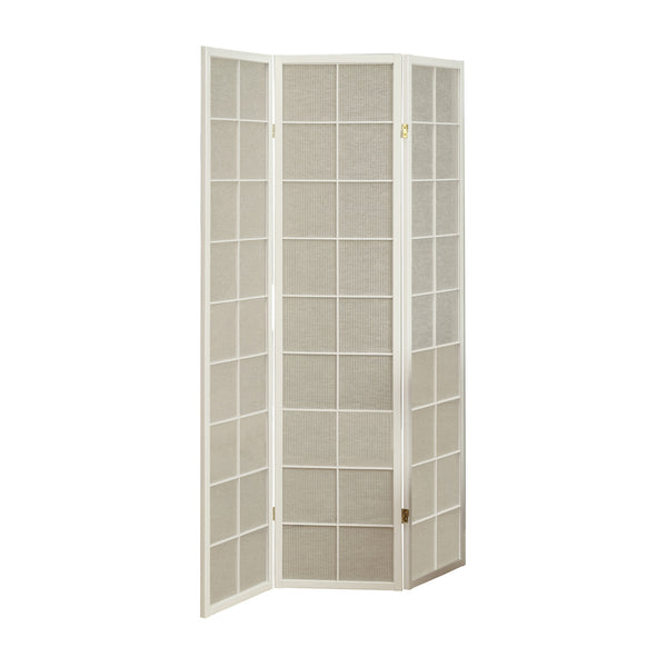 Monarch Specialties I 4633 Folding Screen - 3 Panel / White Frame With Fabric Inlay 021032285029