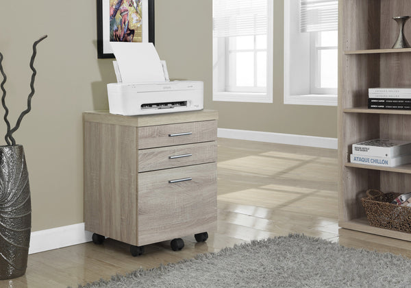 Filing Cabinet - 3 Drawer / Natural On Castors