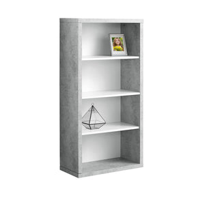 "Monarch Specialties I 7062 Bookcase - 48""H / White / Cement-Look With Adj Shelves 680796010201"