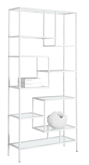 "Monarch Specialties I 7159 Bookcase - 72""H / White Metal With Tempered Glass 878218005595"