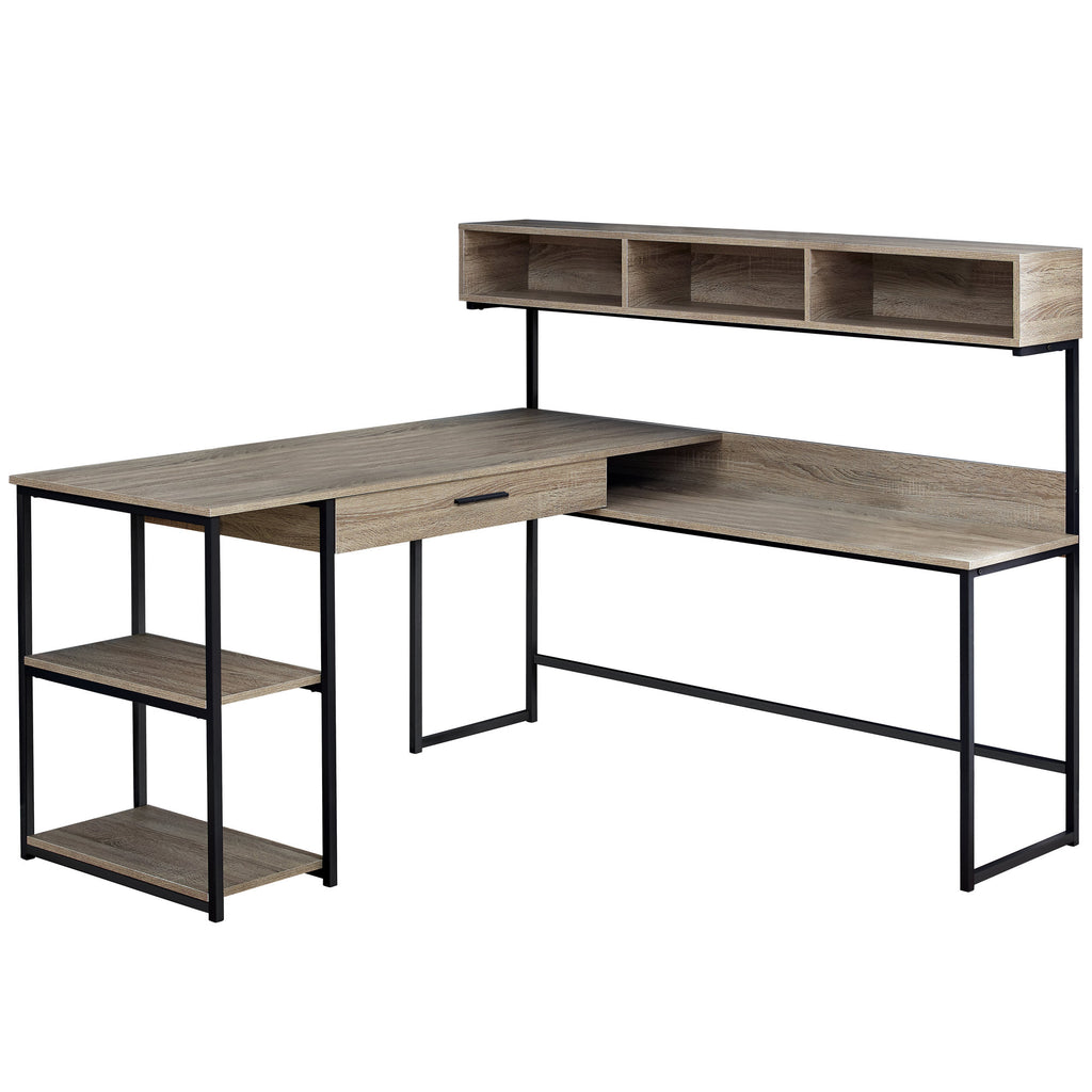 Monarch Specialties I 7161 Computer Desk - Dark Taupe / Black Metal Corner 680796015107