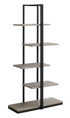 "Monarch Specialties I 7232 Bookcase - 60""H / Dark Taupe / Black Metal 680796000684"