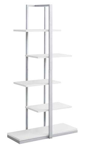 "Monarch Specialties I 7233 Bookcase - 60""H / White / Silver Metal 680796000691"
