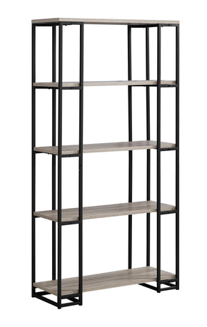 "Monarch Specialties I 7241 Bookcase - 60""H / Dark Taupe / Black Metal 680796000769"