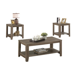 Monarch Specialties I 7914P Table Set - 3Pcs Set / Dark Taupe  878218001566