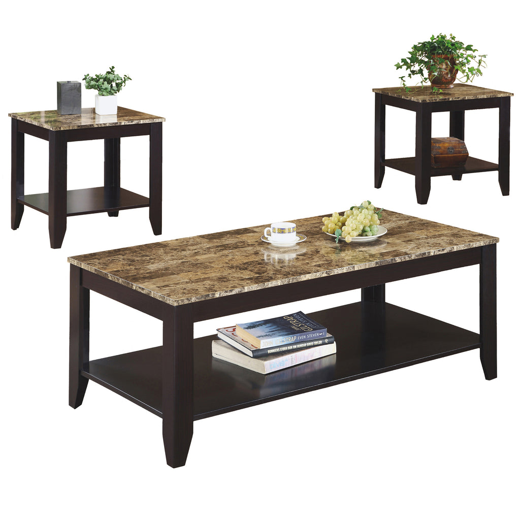 Monarch Specialties I 7984P Table Set - 3Pcs Set / Cappuccino / Marble-Look Top 021032201937