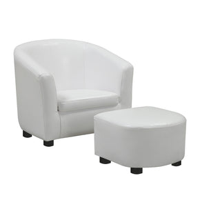 Monarch Specialties I 8104 Juvenile Chair - 2 Pcs Set / White Leather-Look Fabric 021032259235