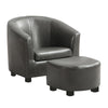 Juvenile Chair - 2 Pcs Set / Charcoal Grey Leather-Look