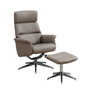 Monarch Specialties I 8134 Reclining Chair - 2Pcs Set / Taupe Swivel Adjust Headrest 680796010782