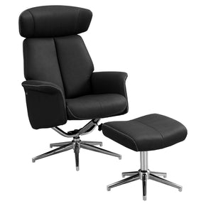 Monarch Specialties I 8138 Reclining Chair - 2Pcs Set / Black Swivel Adjust Headrest 680796010799