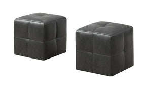 Monarch Specialties I 8163 Ottoman - 2Pcs Set / Juvenile/ Charcoal Grey Leather-Look 878218007629