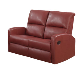 Monarch Specialties I 84RD-2 Reclining-Loveseat Red Bonded Leather 878218008749