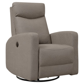 Monarch Specialties I 8610BR Reclining Chair - Power Swivel Glider / Light Brown  680796014902