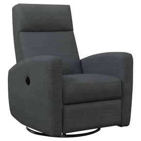 Monarch Specialties I 8612GY Reclining Chair - Power Swivel Glider / Charcoal Grey  680796014919