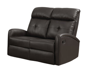 Monarch Specialties I 88BR-2 Reclining-Loveseat Dark Brown Bonded Leather 878218008879