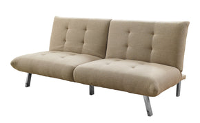 Monarch Specialties I 8969 Futon - Split Back Convertible Sofa / Sand Linen 878218009395