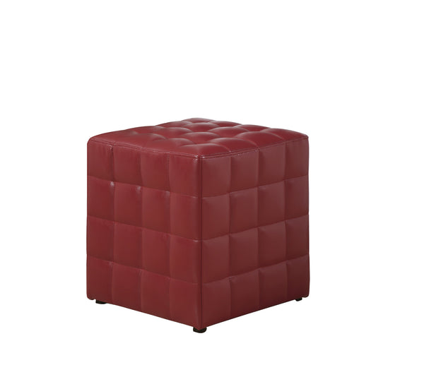 Monarch Specialties I 8979 Ottoman - Red Leather-Look Fabric 021032258931