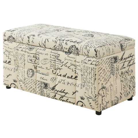 "Monarch Specialties I 8986 Ottoman - 38""L / Storage / Vintage French Fabric 878218007780"