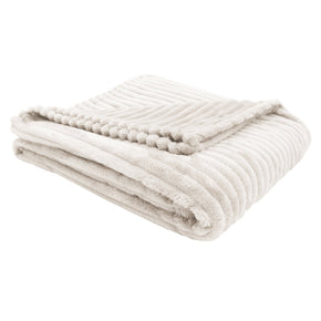 "Monarch Specialties I 9600 Throw - 60"" X 50"" / Ivory Ultra Soft Ribbed Style 680796012458"