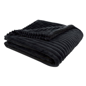 "Monarch Specialties I 9603 Throw - 60"" X 50"" / Black Ultra Soft Ribbed Style 680796012489"