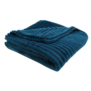 "Monarch Specialties I 9604 Throw - 60"" X 50"" / Blue Ultra Soft Ribbed Style 680796012496"