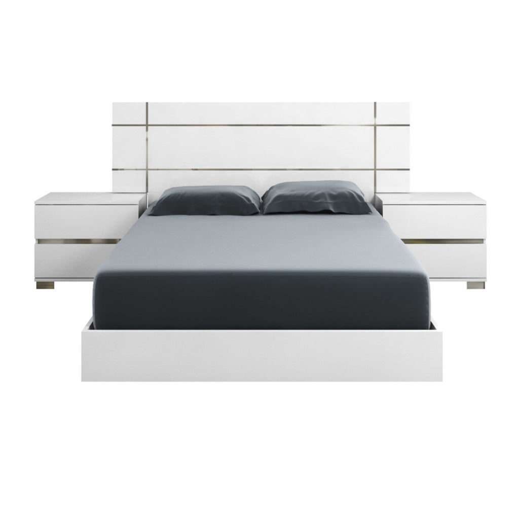 Star International Furniture 2103.WHG Icon Standard King Bed White High Gloss, Chrome Foil Trim | Acrylic Lacquer